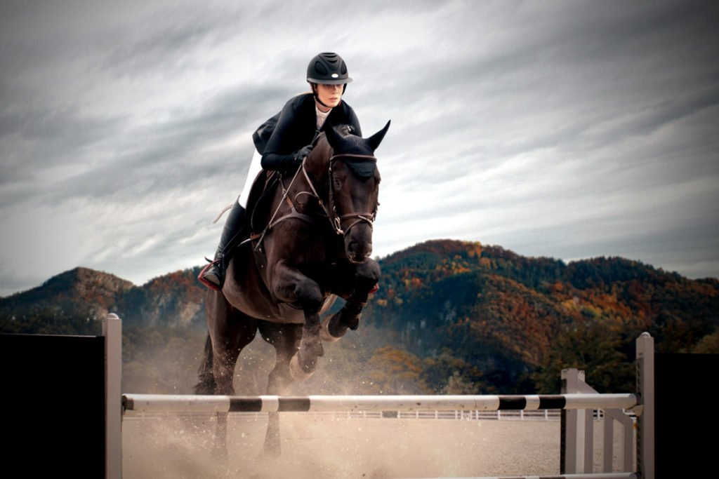 dark horse with a a rider is jumping over a wooden hunter horse jump