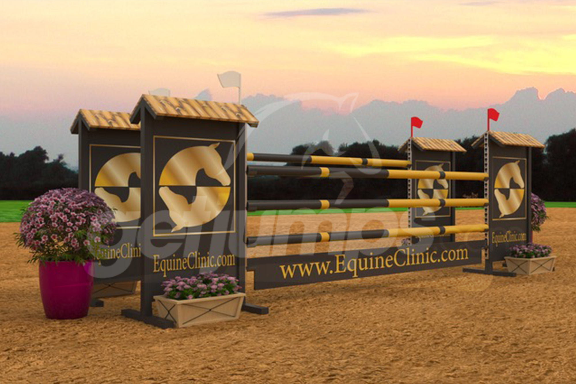 EquineClinic themed black and gold sponsor jump