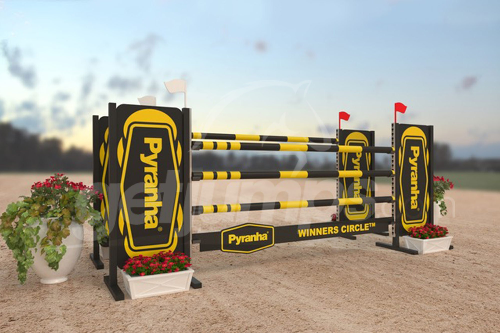 Pyranha themed black and yellow sponsor jump