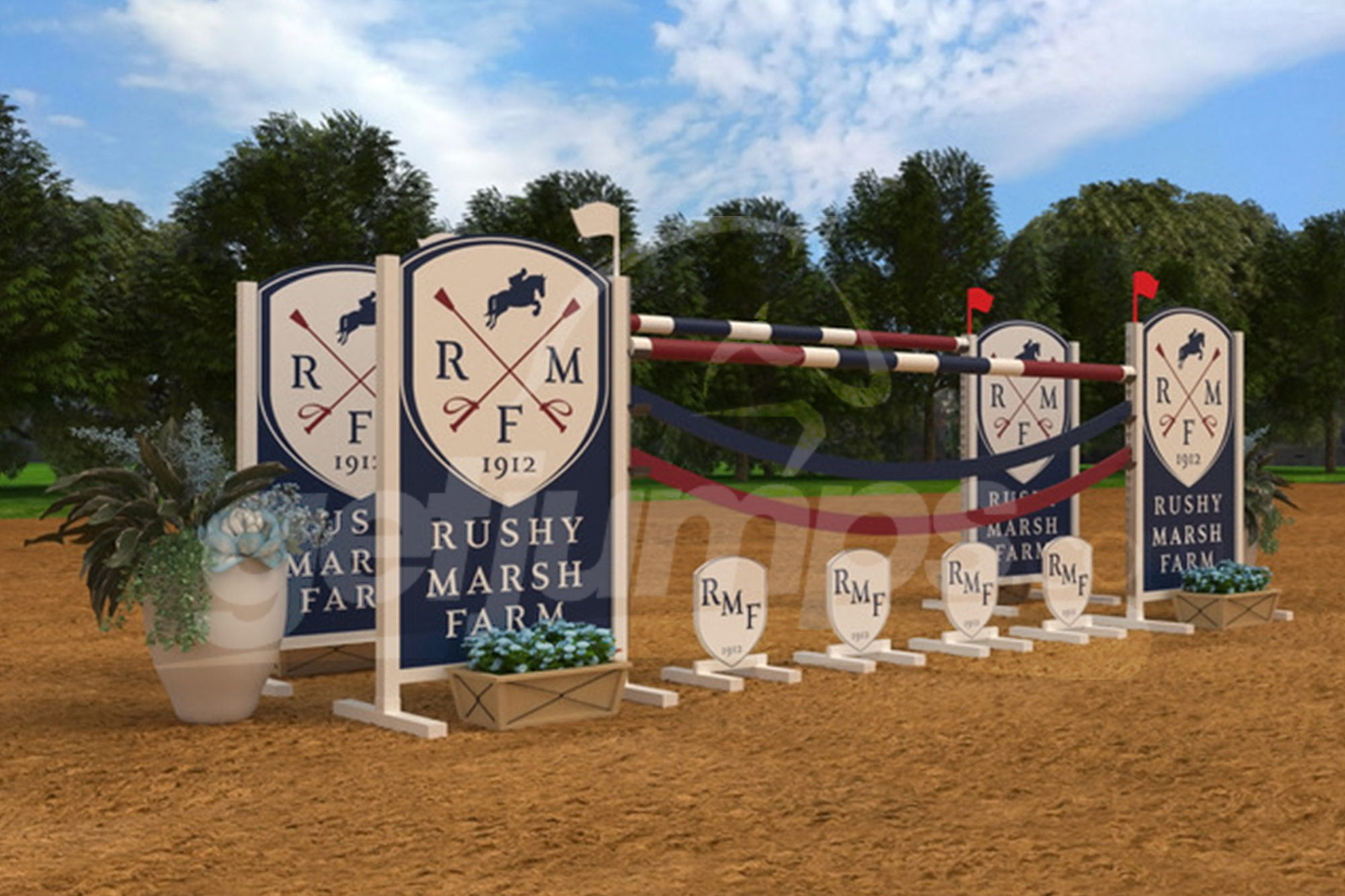 Rushy Marsh Farm themed corporate sponsor horse jump