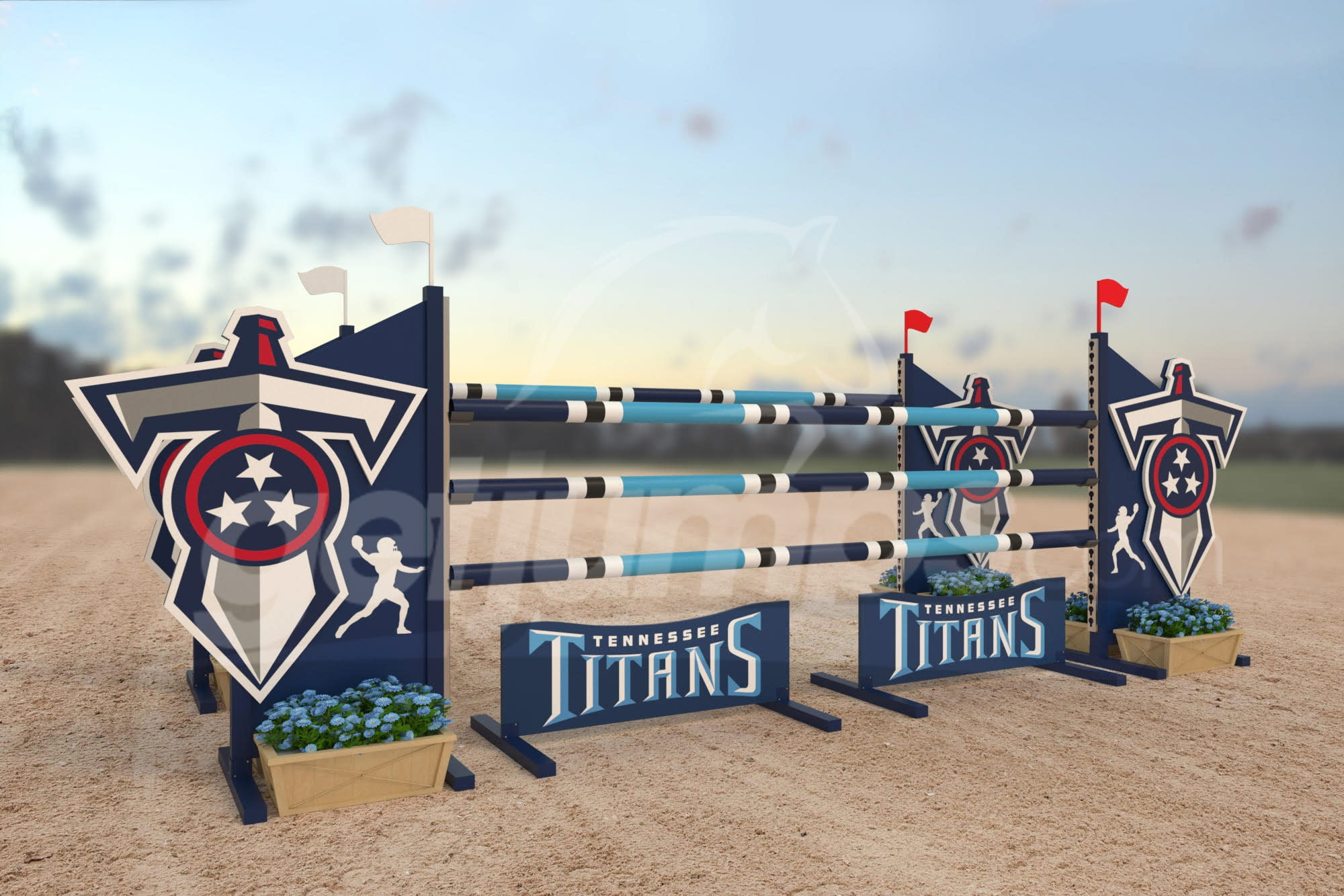 Titans themed dark blue aluminum horse jump