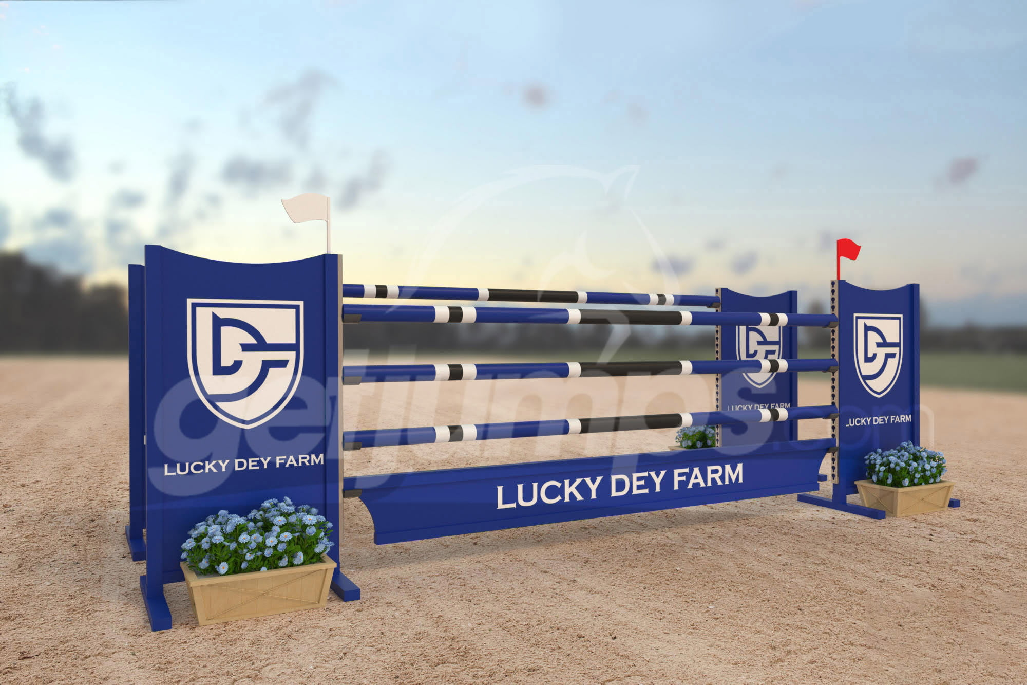 Lucky Dey Farm themed sponsor jump